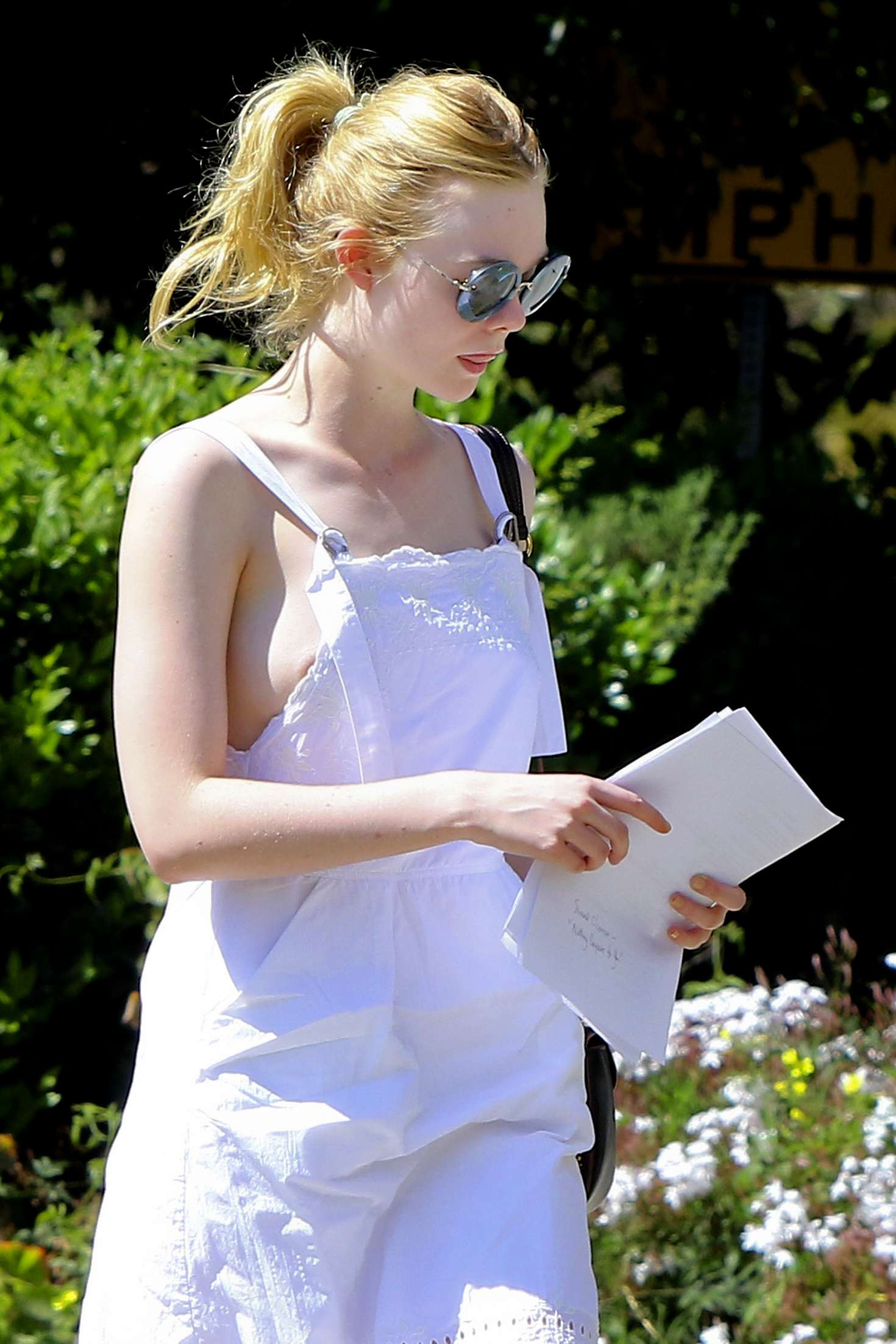 Elle Fanning in White Dress out in LA