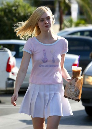 Elle Fanning in White Mini Skirt Out in LA
