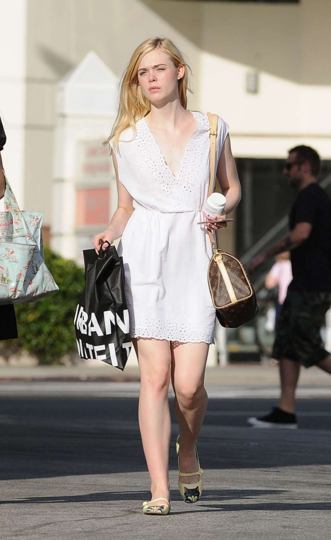 Elle Fanning - Leaves Urban Outfiters in LA