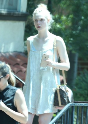 Elle Fanning in Short Dress Leaving a friend's house in West Hollywood
