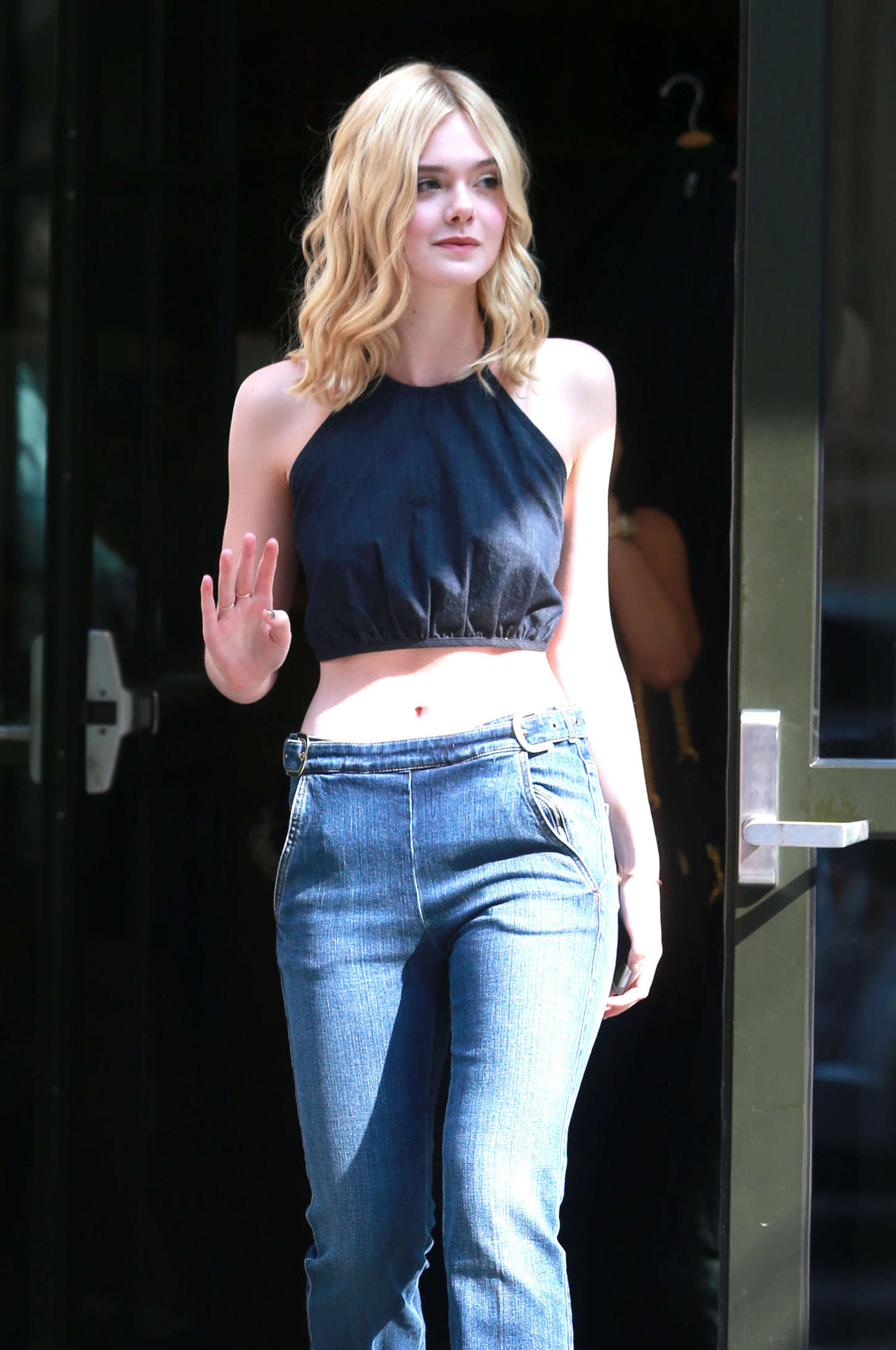 Elle Fanning in Jeans and Tank Top out in NY Dakota Fanning Worth