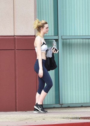 Elle Fanning in Tights Leaving the Gym -01