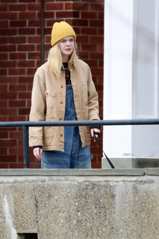 Elle Fanning on set of 'I Think We're Alone Now' in Westchester County