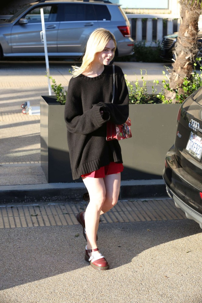 Elle Fanning in Black Sweaters Out in Beverly Hills