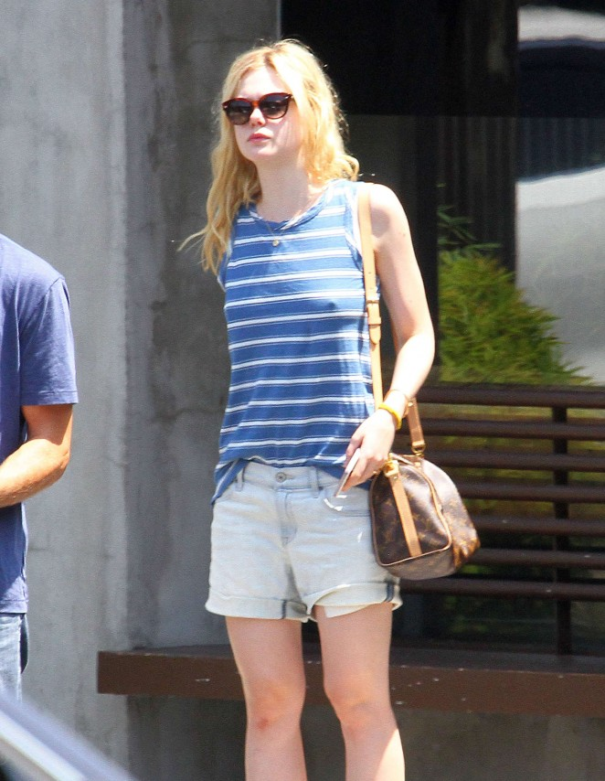 Elle Fanning in Jeans Shorts Out in Beverly Hills