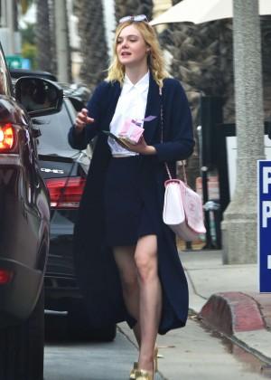 Elle Fanning in Mini Skirt Out in Santa Monica