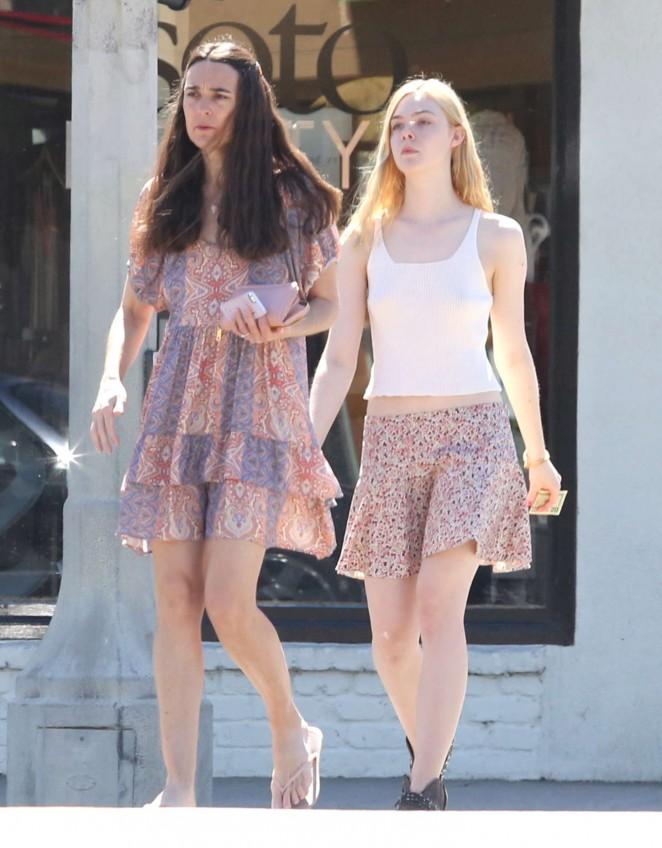 Elle Fanning in Short Skirt Out in Studio City