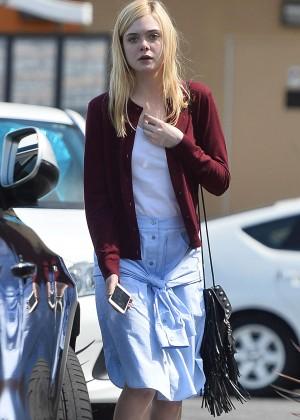 Elle Fanning in Blue Skirt Out in LA