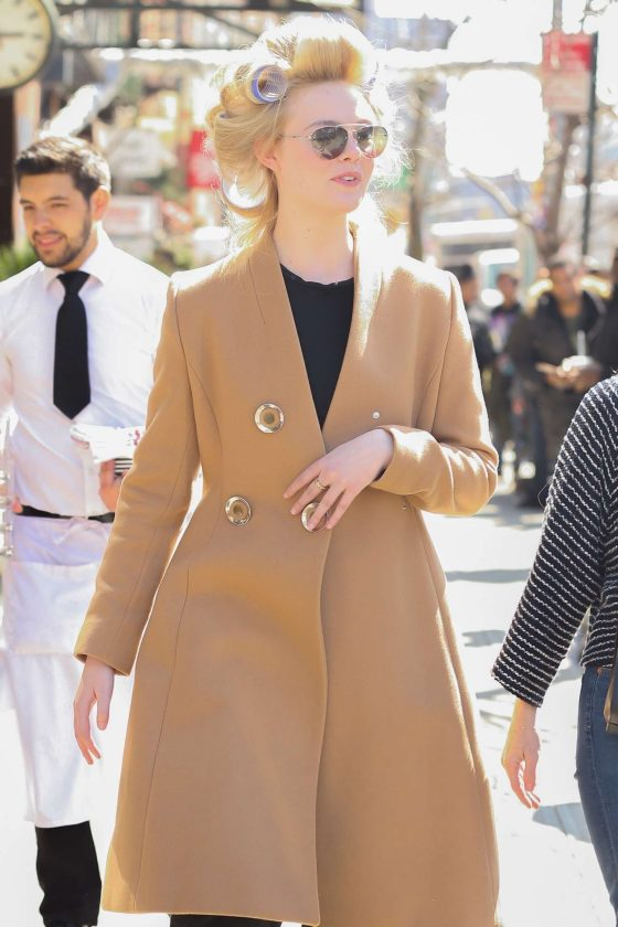 Elle Fanning - Wears Curlers out in NYC