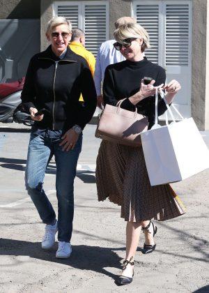 Ellen DeGeneres and Portia De Rossi at a hair salon in West Hollywood