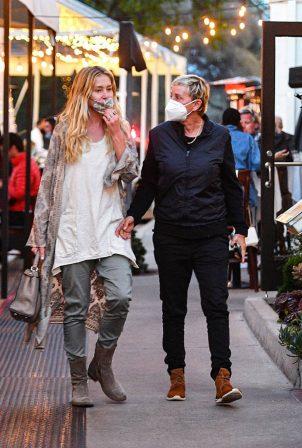 Ellen DeGeneres with Portia de Rossi - head to dinner in Montecito