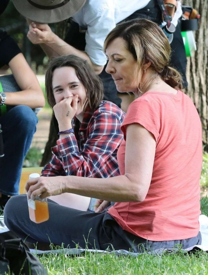 Ellen Page and Allison Janney on the set of 'Tallulah' in NYC