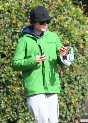Ellen Page in Green Jacket in Los Angeles
