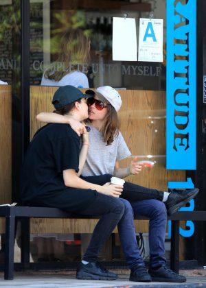 Ellen Page with Emma Portner at Cafe Gratitude in West Hollywood