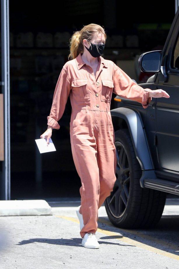 Ellen Pompeo in a brown jumpsuit out in Los Feliz