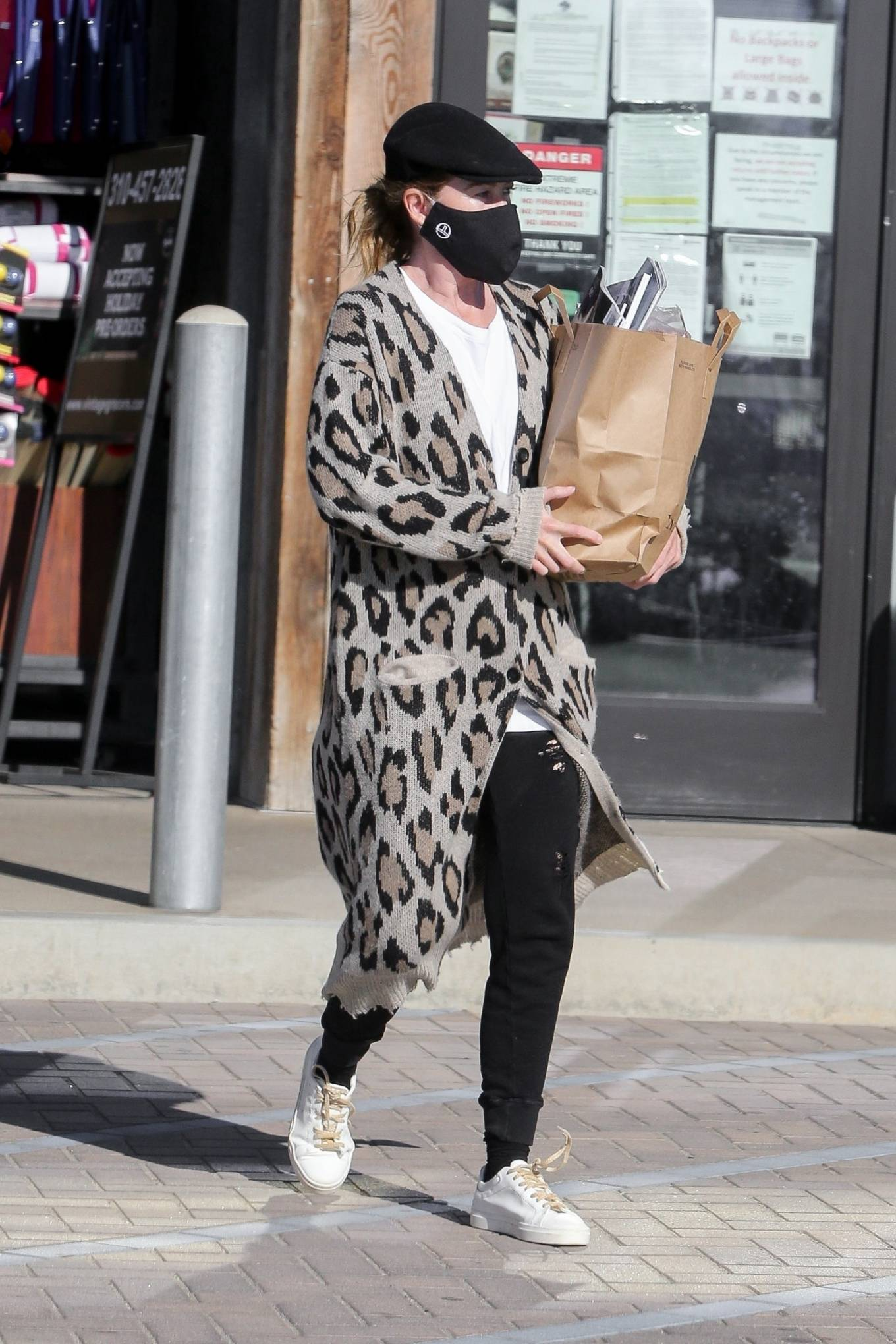 Ellen Pompeo - In an animal print cardigan at the Trancas Country Market