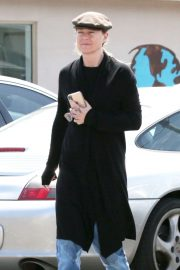 Ellen Pompeo in Black Coat - Out in Malibu