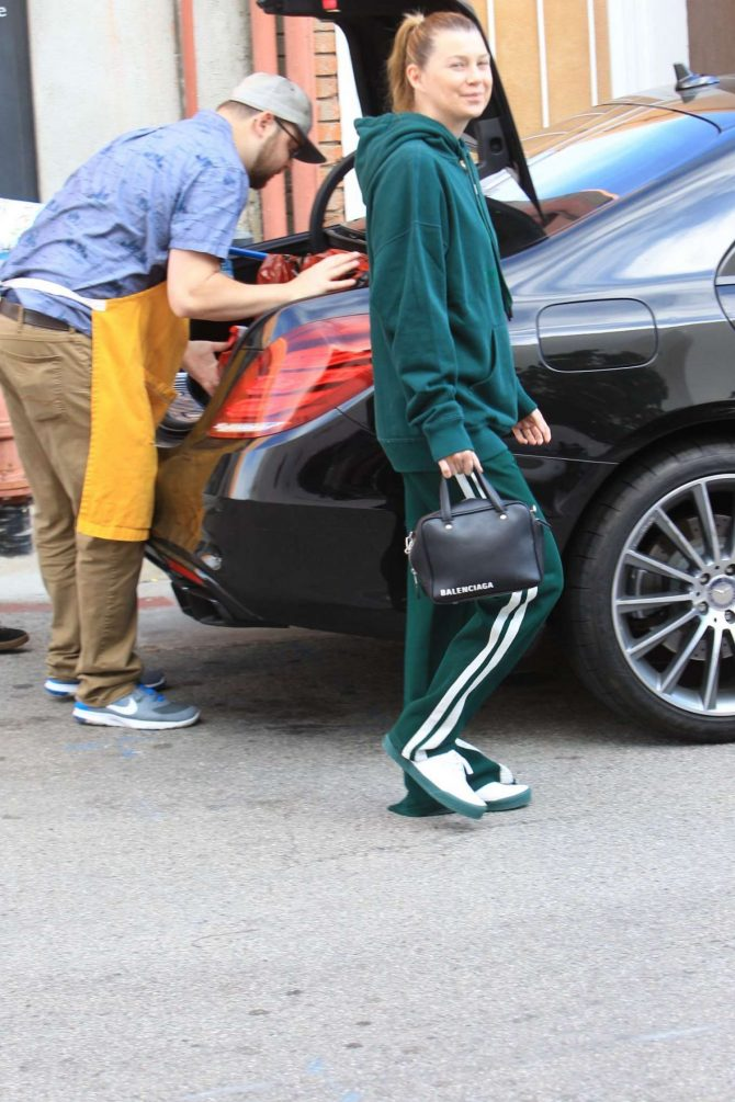 Ellen Pompeo in Green Tracksuit – Shopping at Toms Toys in Beverly Hills