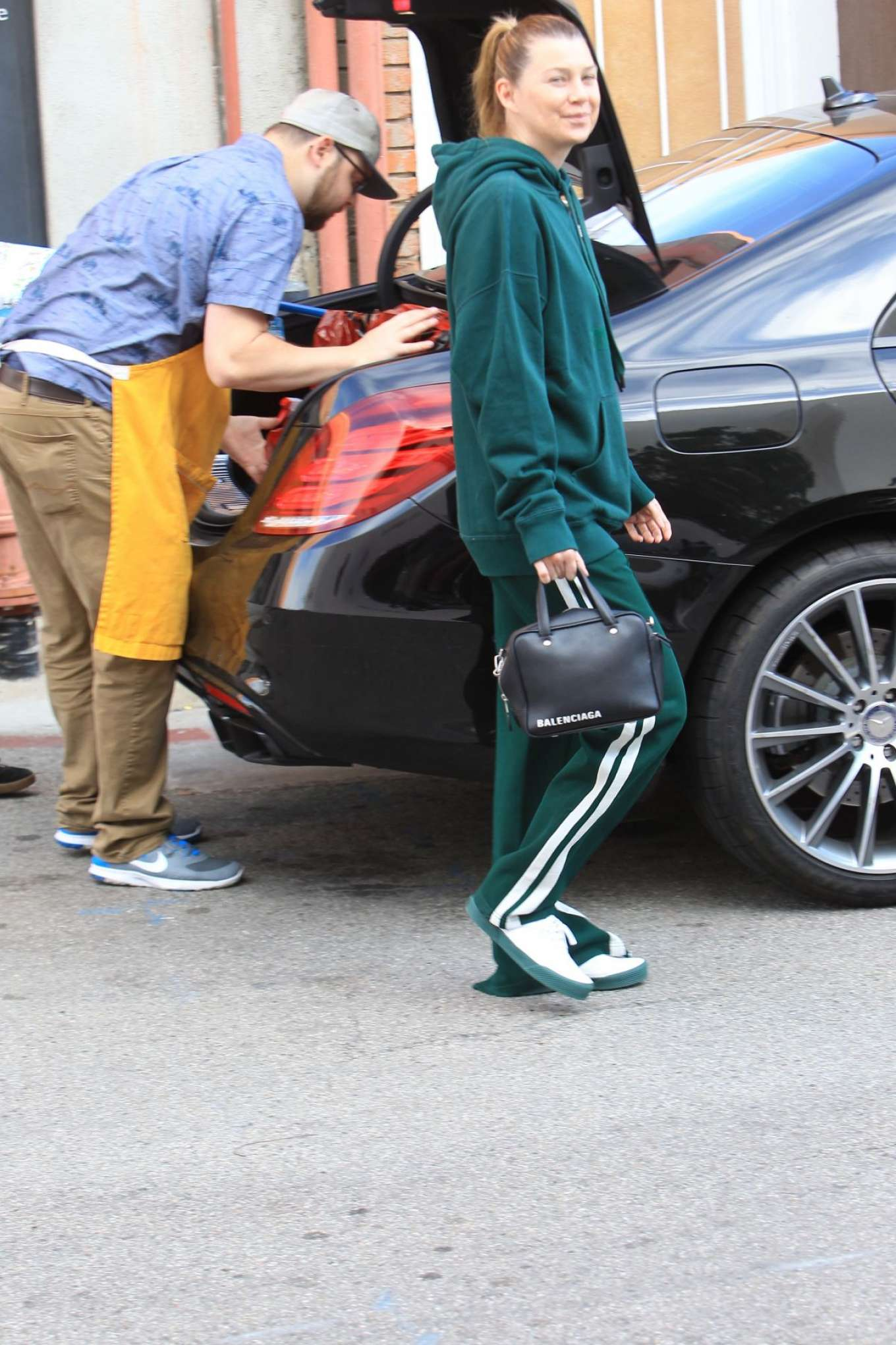 Ellen Pompeo in Green Tracksuit - Shopping at Toms Toys in Beverly Hills