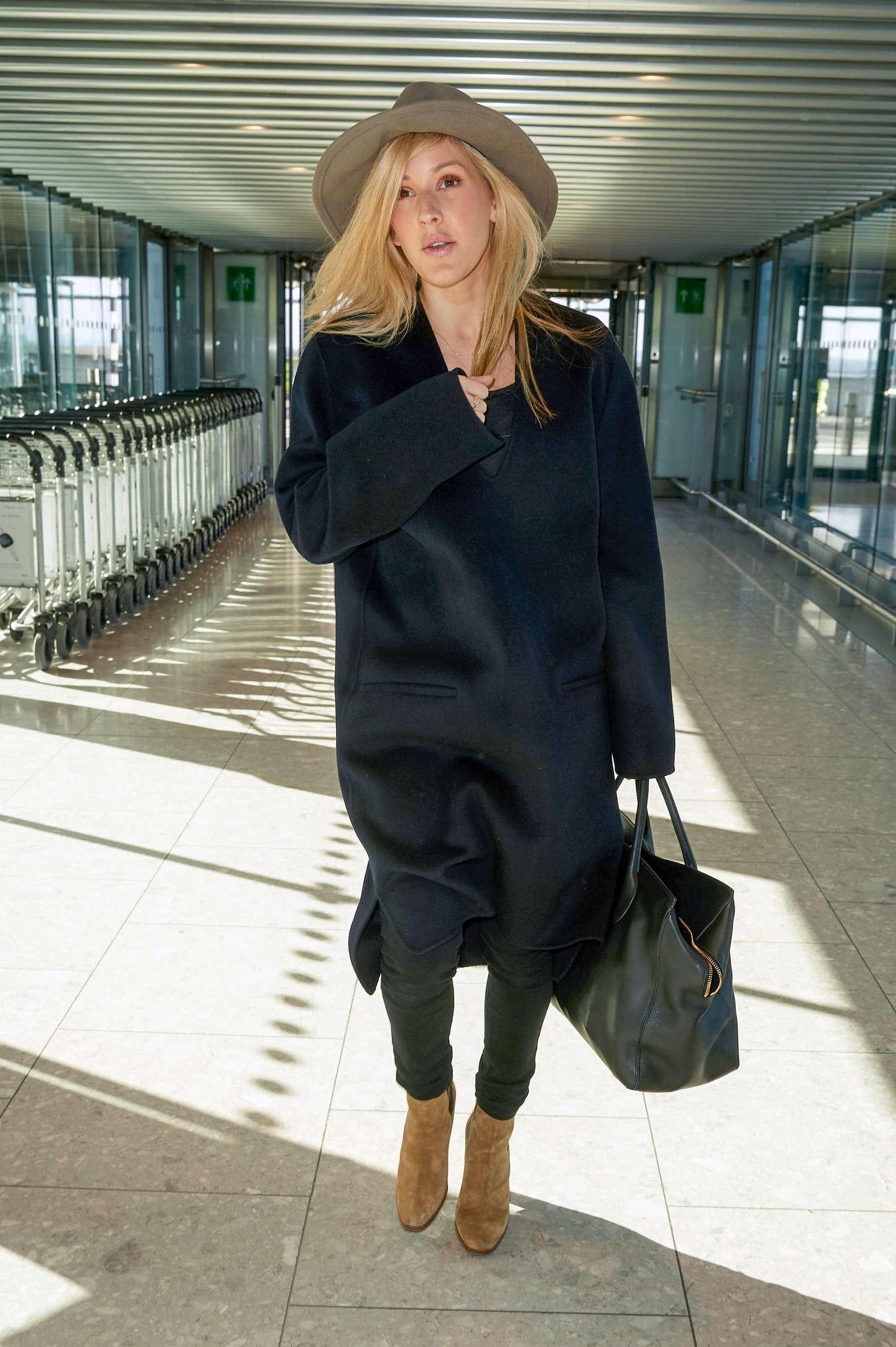 Ellie Goulding at Heathrow airport in London