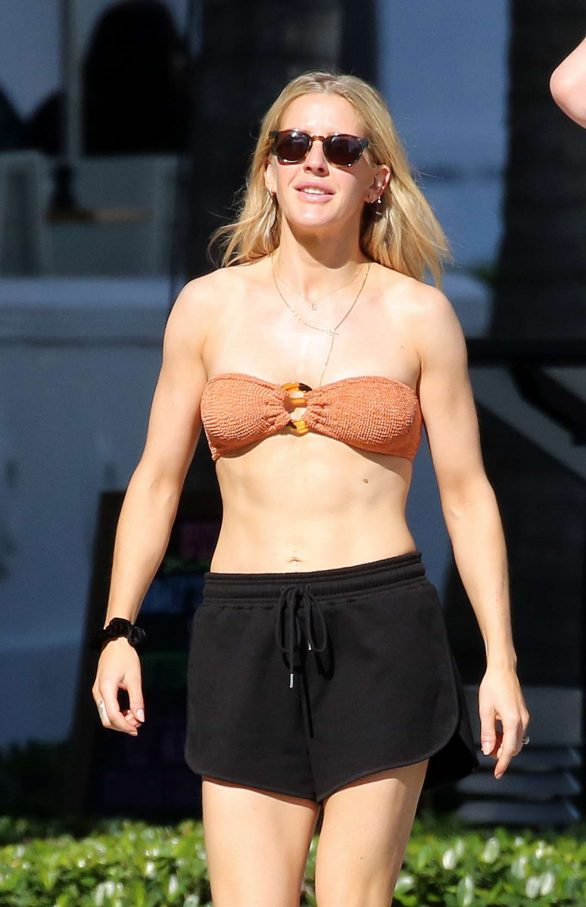 Ellie Goulding in Bandeau Bikini Top - Out in Miami