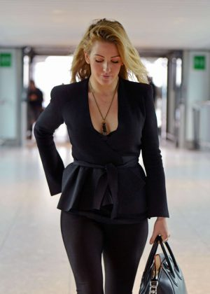 Ellie Goulding in Black at Heathrow Airport in London