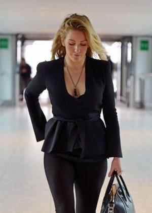 Ellie Goulding in Black at Heathrow Airport in London