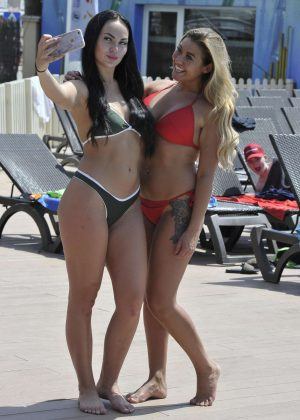 Ellie Young and Hayley Fanshaw in Bikini on the beach in Palma
