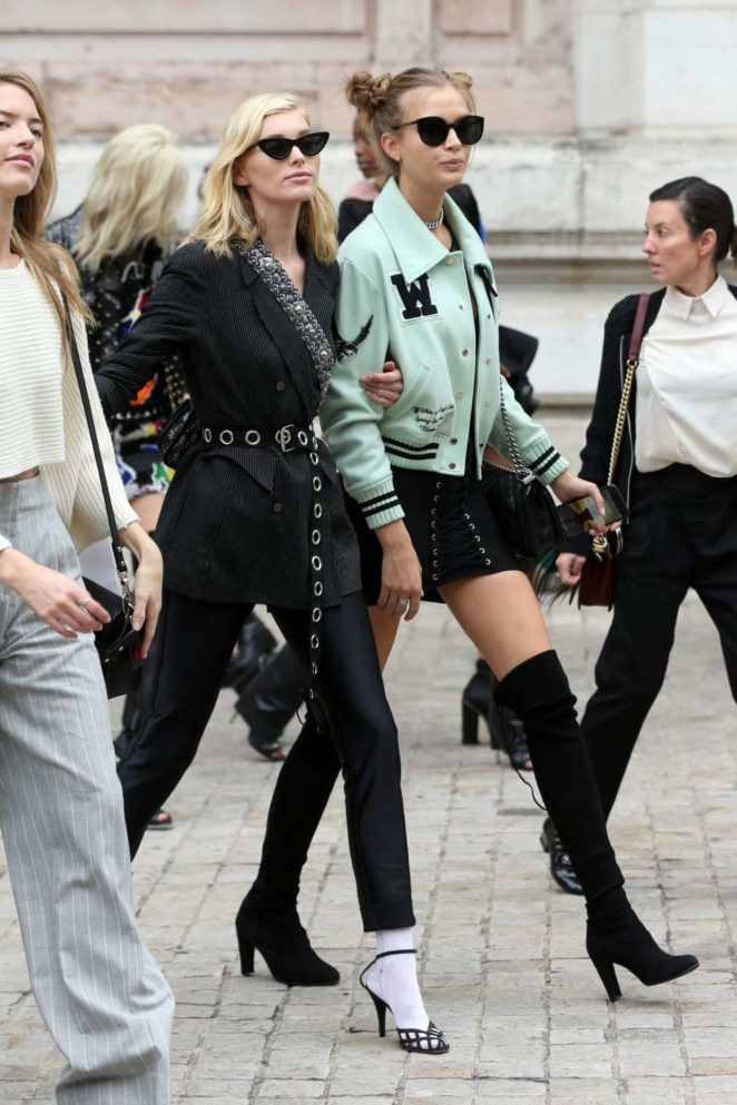 Elsa Hosk and Josephine Skriver - Spotted at Balmain SS18 at Paris Opera in Paris