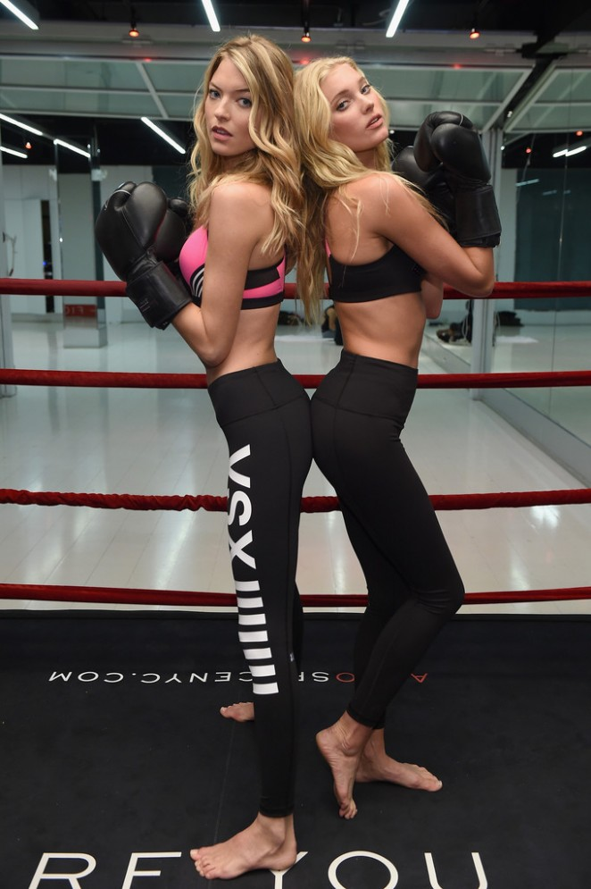 Elsa Hosk and Martha Hunt - box it out wearing Victoria Secret Sport in NYC