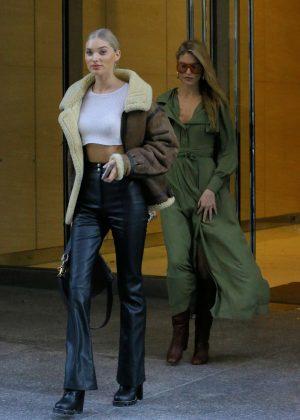 Elsa Hosk and Martha Hunt - Leaving Victoria's Secret Headquarters in New York