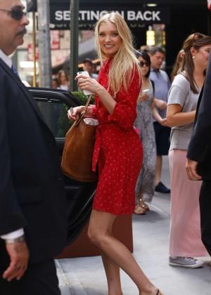 Elsa Hosk in Red Dress at Lambs Club -03