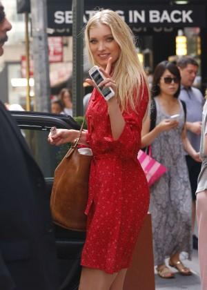 Elsa Hosk in Red Dress at Lambs Club -09