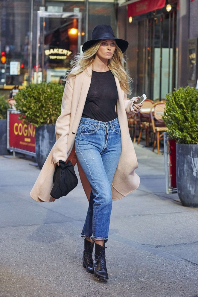 Elsa Hosk in Jeans at Victoria's Secret offices in NYC