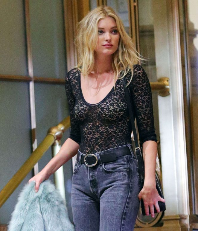 Elsa Hosk doing a Victoria's Secret photoshoot in New York
