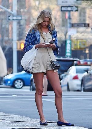 Elsa Hosk in Short Shorts Hailing a cab in NYC