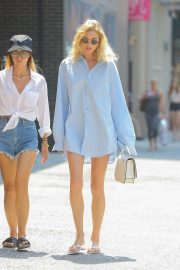 Elsa Hosk in a long light blue shirt out in New York City