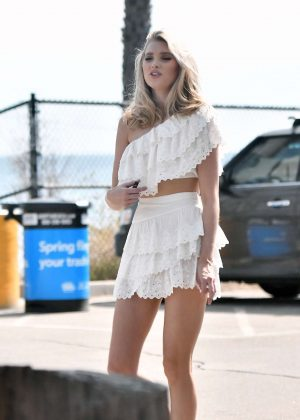 Elsa Hosk in a White Dress - Photoshoot in Los Angeles