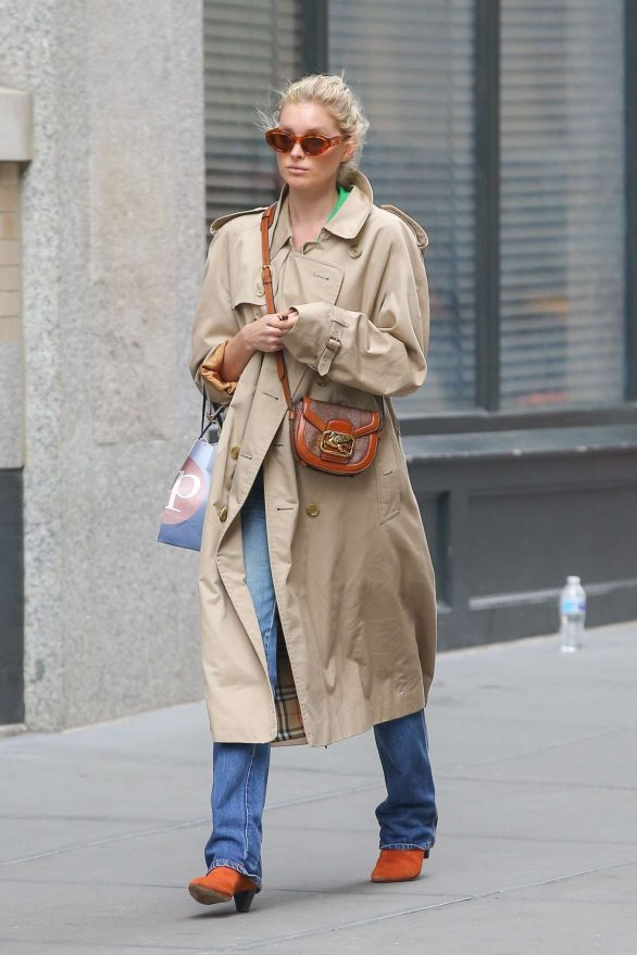 Elsa Hosk in Beige Coat - Out in NYC