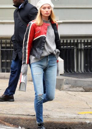Elsa Hosk - In black and red leather jacket seen out in NYC