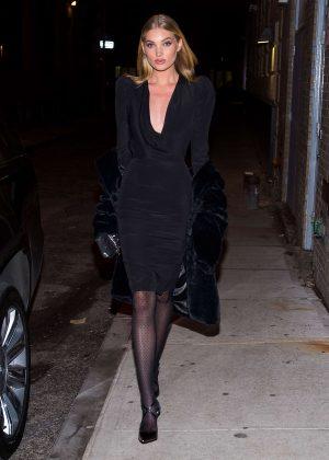 Elsa Hosk in Black Dress in Tribeca in New York City