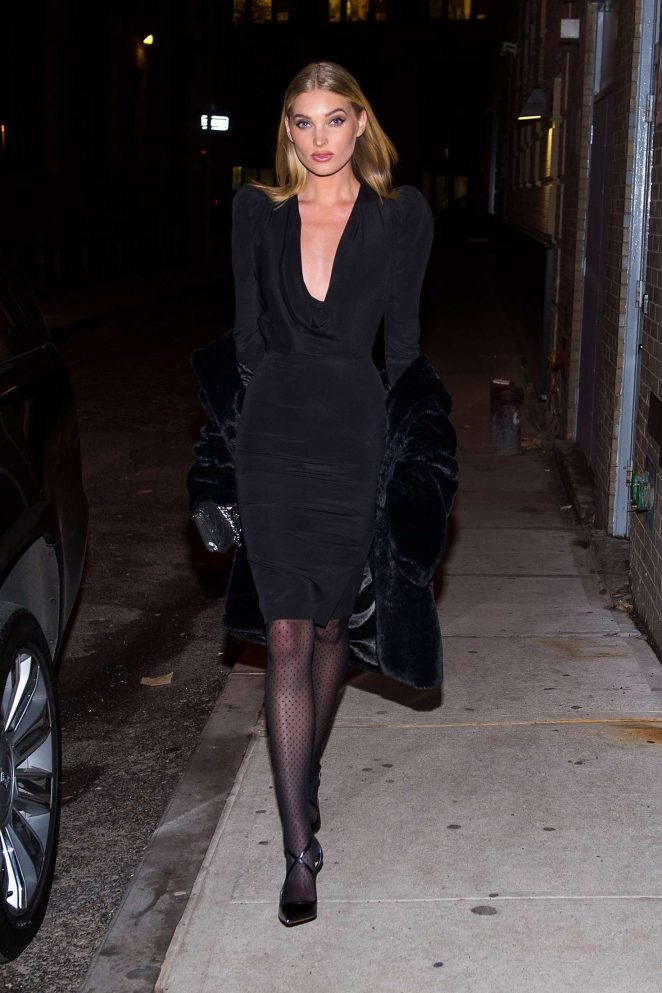 Elsa Hosk in Black Dress in Tribeca in New York City