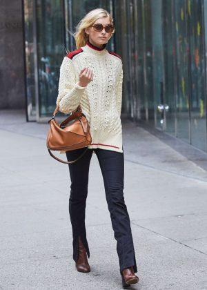 Elsa Hosk in Black Pants Out in New York