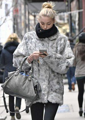 Elsa Hosk in Fur Coat Out in New York