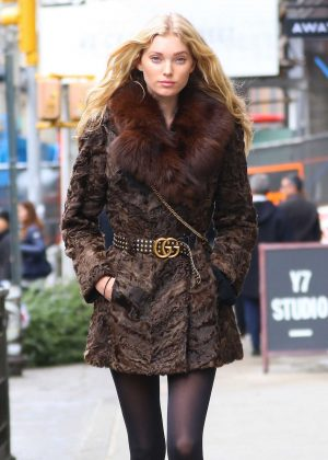 Elsa Hosk in Fur Coat Out in NYC