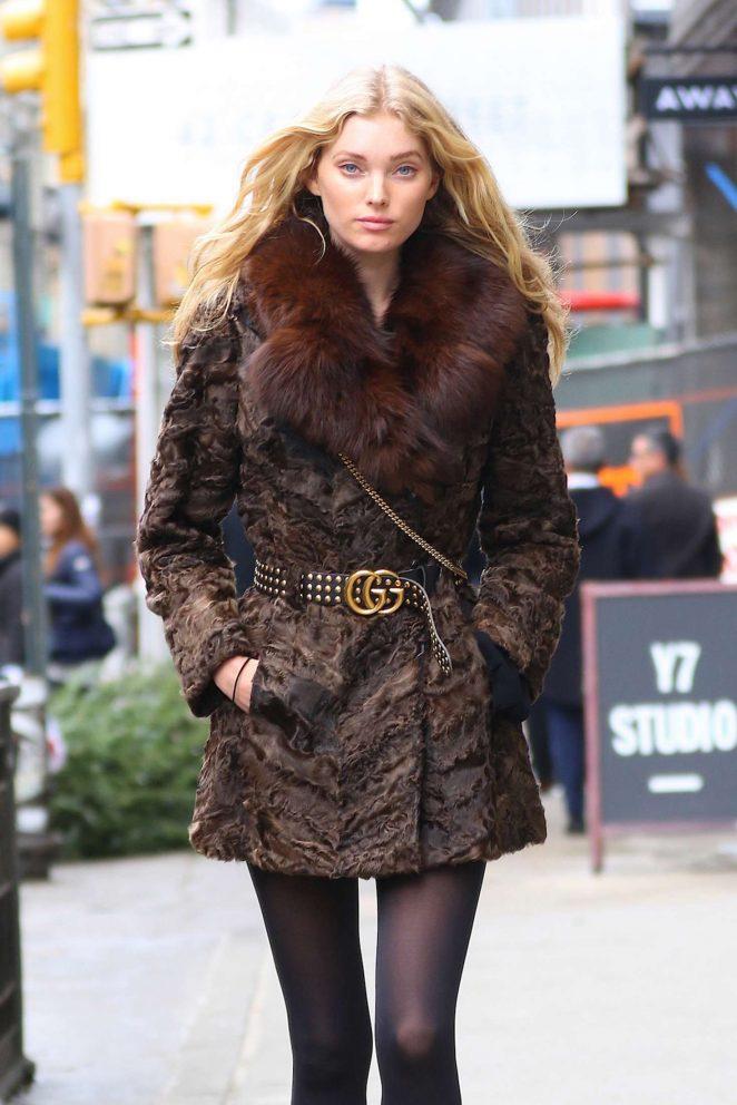 Elsa Hosk in Fur Coat Out in NYC