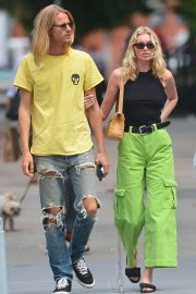 Elsa Hosk in Green Pants - Out in New York