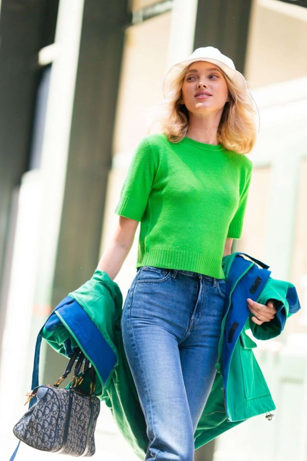 Elsa Hosk in Green Shirt - Out in NYC