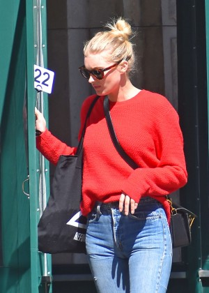 Elsa Hosk in Jeans and Red Sweaters out in New York City