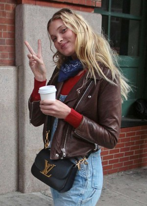 Elsa Hosk in jeans Out in New York